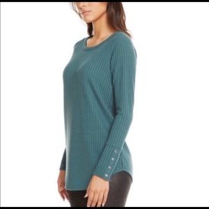 Chaser Long Sleeve Crew Neck Waffle Knit Top